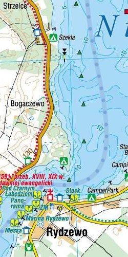 Wielkie Jeziora Mazurskie - widok mapy papierowej