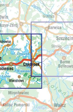 Pojezierze Drawskie - część zachodnia - widok mapy papierowej