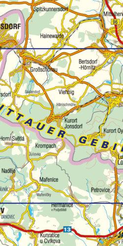 Góry Żytawskie/Zittauer Gebirge - mapa turystyczna - widok mapy papierowej
