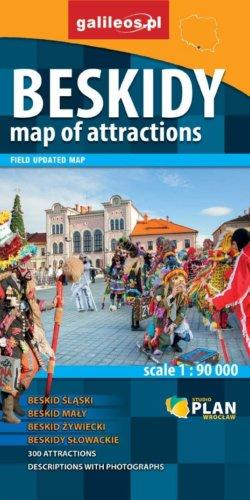 Beskidy mapa atrakcji - widok mapy papierowej