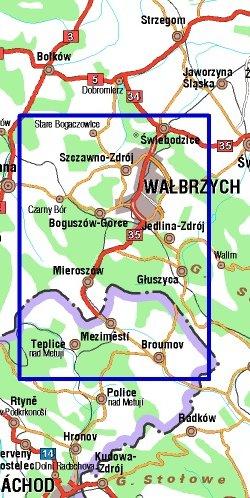 Góry Wałbrzyskie i Góry Kamienne - widok mapy papierowej