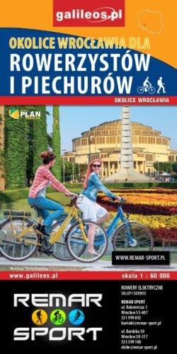 Front okładki Okolice Wrocławia, mapa dla rowerzystów i piechurów