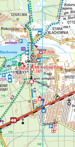 Okolice Częstochowy - część zachodnia - widok mapy papierowej
