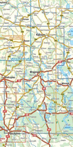 Mazury środkowe - pojezierze mrągowskie - widok mapy papierowej