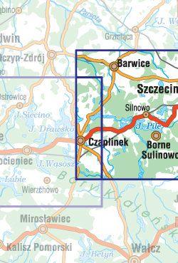 Pojezierze Drawskie - część wschodnia - widok mapy papierowej