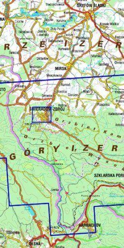 Góry Izerskie - widok mapy papierowej