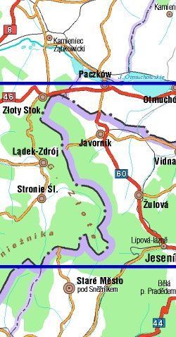 Góry Złote - Góry Rychlebskie - widok mapy papierowej