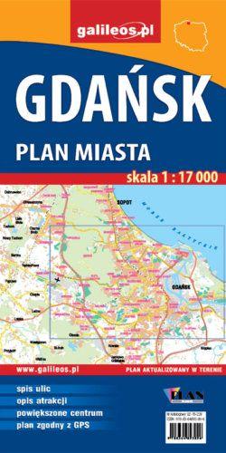Gdańsk - plan miasta - widok mapy papierowej