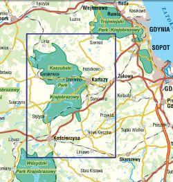 Szwajcaria Kaszubska - widok mapy papierowej