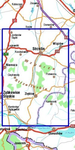 Wzgórza Strzelińskie i Niemczańskie - widok mapy papierowej