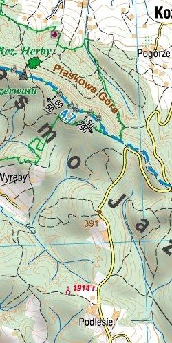 Pogórze Strzyżowskie - Okolice Jasła i Krosna - widok mapy papierowej