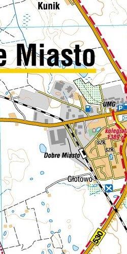 Pojezierze Olsztyńskie - część północna - widok mapy papierowej