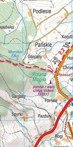 Beskid wyspowy - widok mapy papierowej