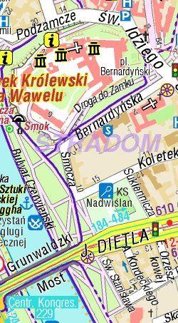 Kraków plan miasta - widok mapy papierowej