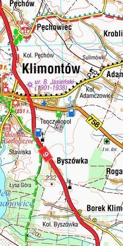 Wyżyna Sandomierska - widok mapy papierowej
