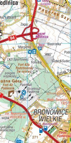 Okolice Krakowa - widok mapy papierowej