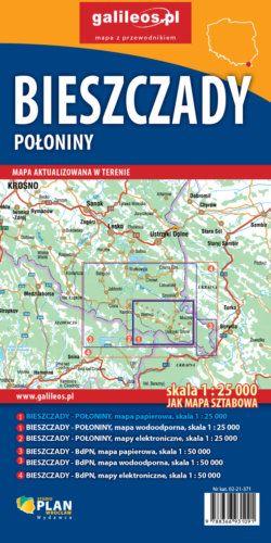 Bieszczady Połoniny - widok mapy papierowej