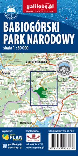 Babia Góra-Zawoja, Babiogórski Park Narodowy - widok mapy papierowej