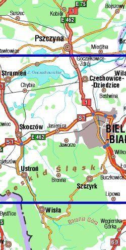 Okolice Bielska-Białej dla aktywnych - widok mapy papierowej