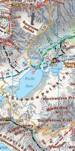 Tatry polskie i słowackie - widok mapy papierowej