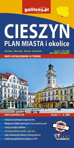 Front okładki Cieszyn (plan miasta) i okolice