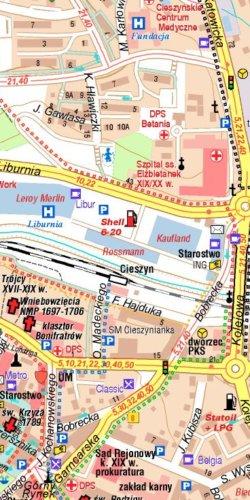 Cieszyn (plan miasta) i okolice - widok mapy papierowej