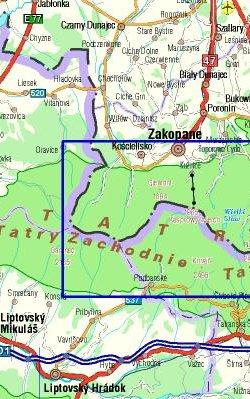 Tatrzański Park Narodowy - widok mapy papierowej