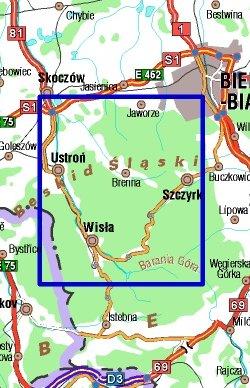 Wisła, Brenna i okolice - widok mapy papierowej