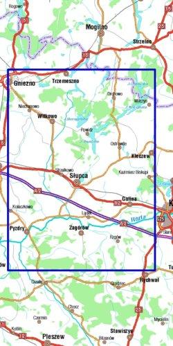 Pojezierze Powidzkie, Puszcza Pyzdrska, powiat Słupecki - widok mapy papierowej