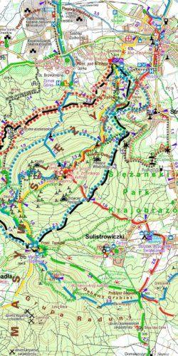 Okolice Wrocławia, mapa dla rowerzystów i piechurów - widok mapy papierowej