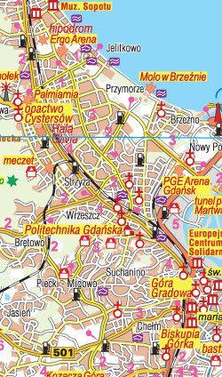 Pomorskie Województwo -  mapa krajoznawczo samochodowa - widok mapy papierowej