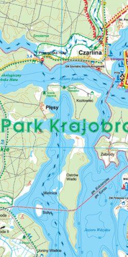 Wdzydzki Park Krajobrazowy, okolice Kościerzyny i Bytowa - widok mapy papierowej