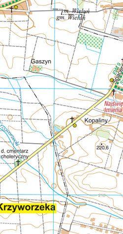 Wyżyna Wieluńska - Załęczański Park Krajobrazowy - widok mapy papierowej