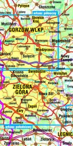 Ziemia Lubuska - widok mapy papierowej