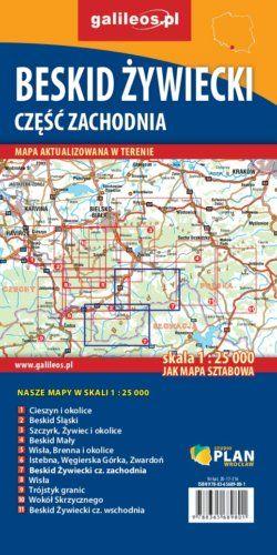 Beskid Żywiecki, część zachodnia - widok mapy papierowej