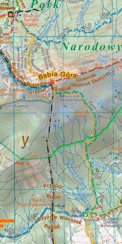 Wokół Babiej Góry - widok mapy papierowej