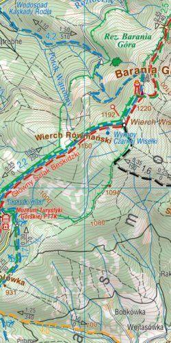 Beskid Śląski i Żywiecki - widok mapy papierowej
