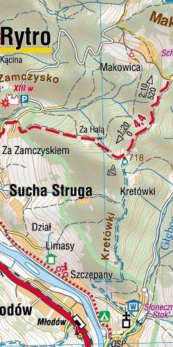 Beskid Sądecki - widok mapy papierowej