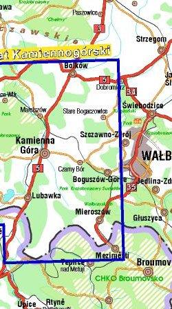 Powiat Kamiennogórski - widok mapy papierowej