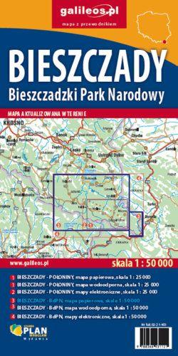 Bieszczady  - Bieszczadzki Park Narodowy - widok mapy papierowej